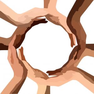 circle, hands, teamwork